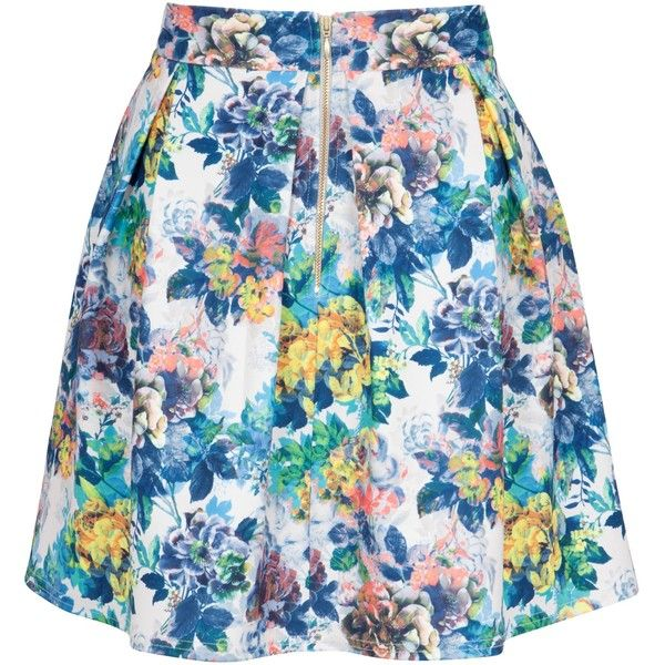 Closet Floral Print Scuba Skirt, Multi ($21) ❤ liked on Polyvore featuring skirts, floral knee length skirt, floral printed skirt, floral print skirt, summer skirts and flare skirt