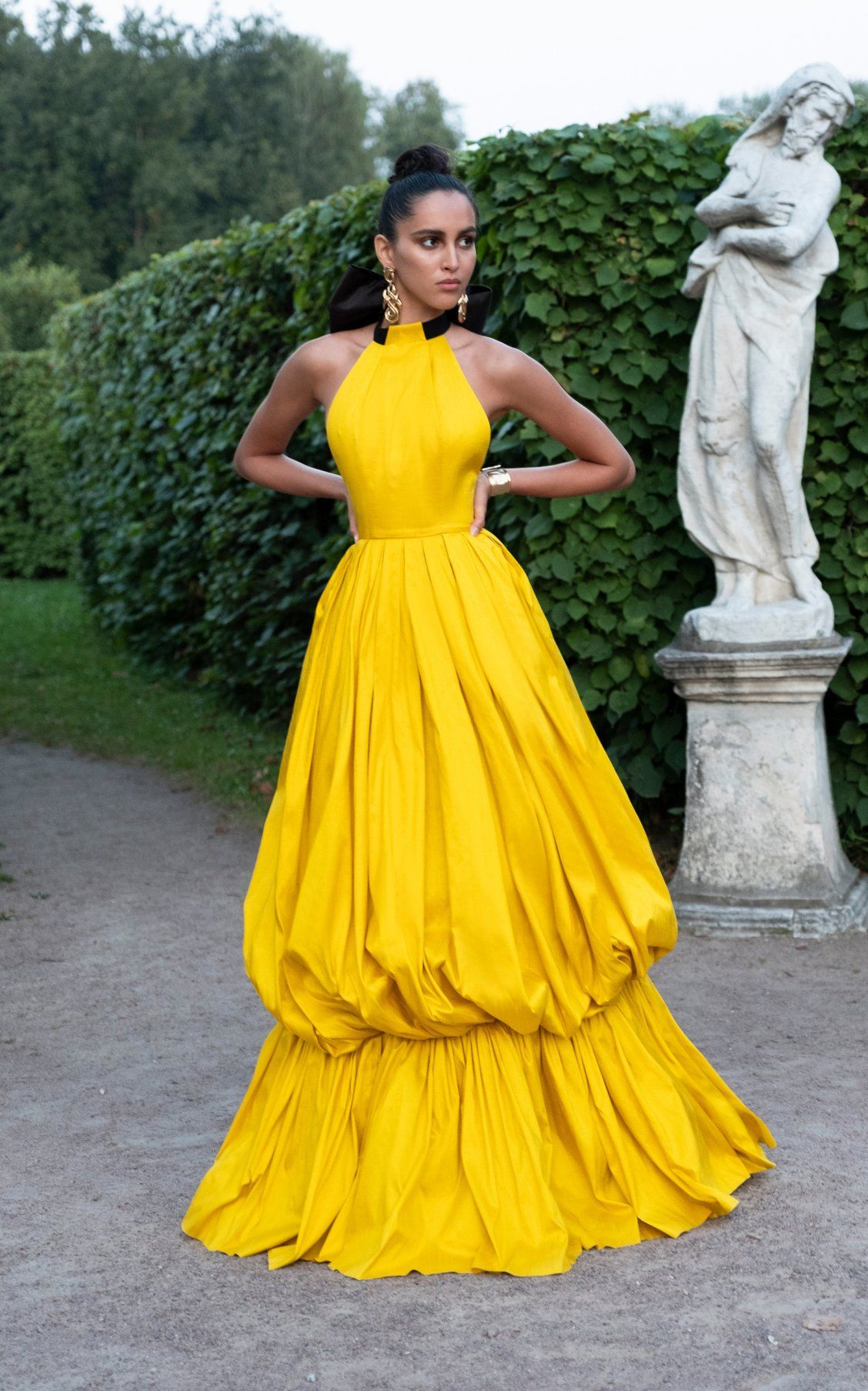 Wedding decorations yellow and gray november 2018 Tiered Silk BubbleSkirt Gown by Rasario SS  Fashion sketches in