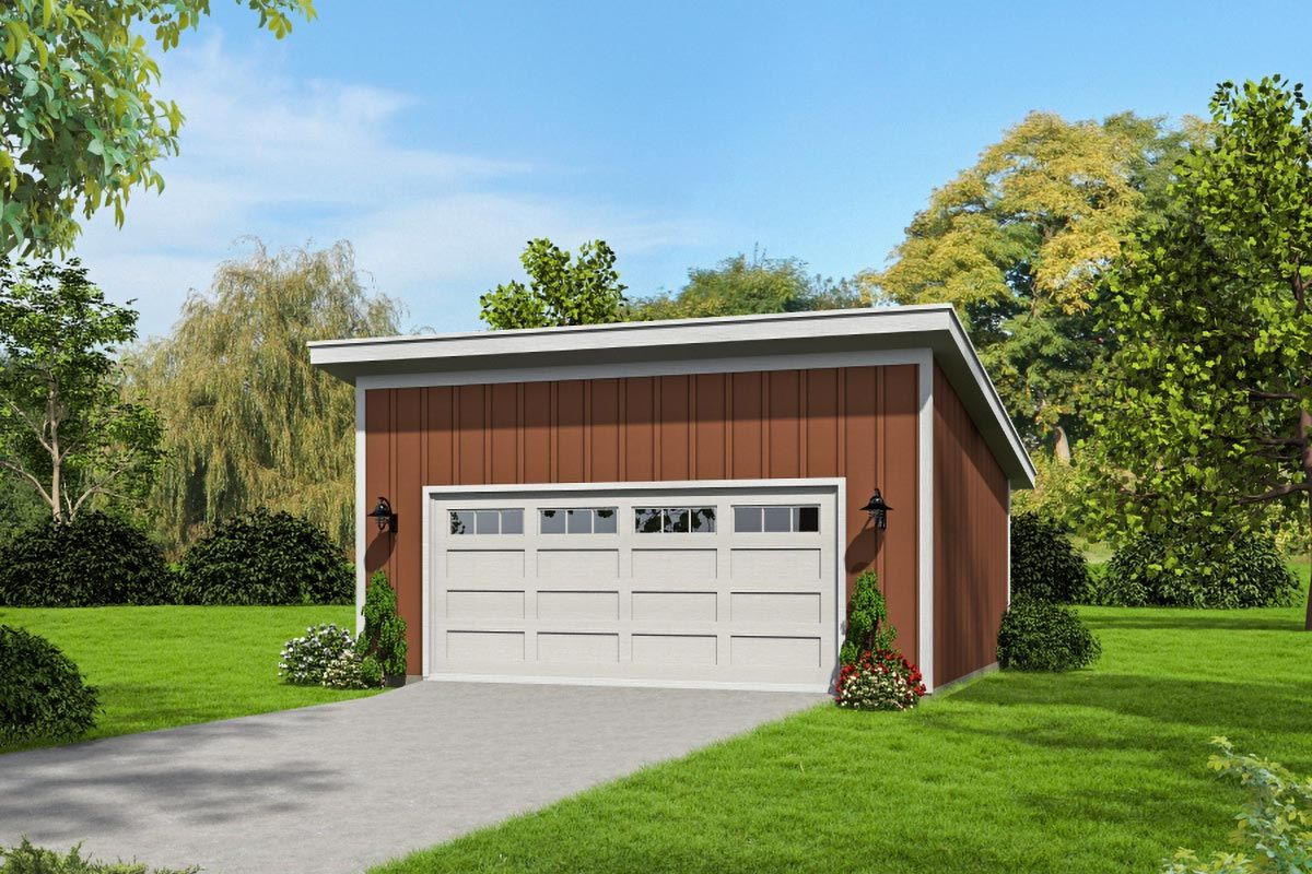 Plan 68528vr Double Bay Garage Plan With Shed Roof Flat Roof Shed Shed Shed Roof