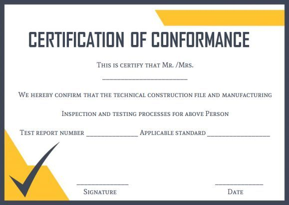 Certificate Of Conformance Template  Certificate Of Conformance