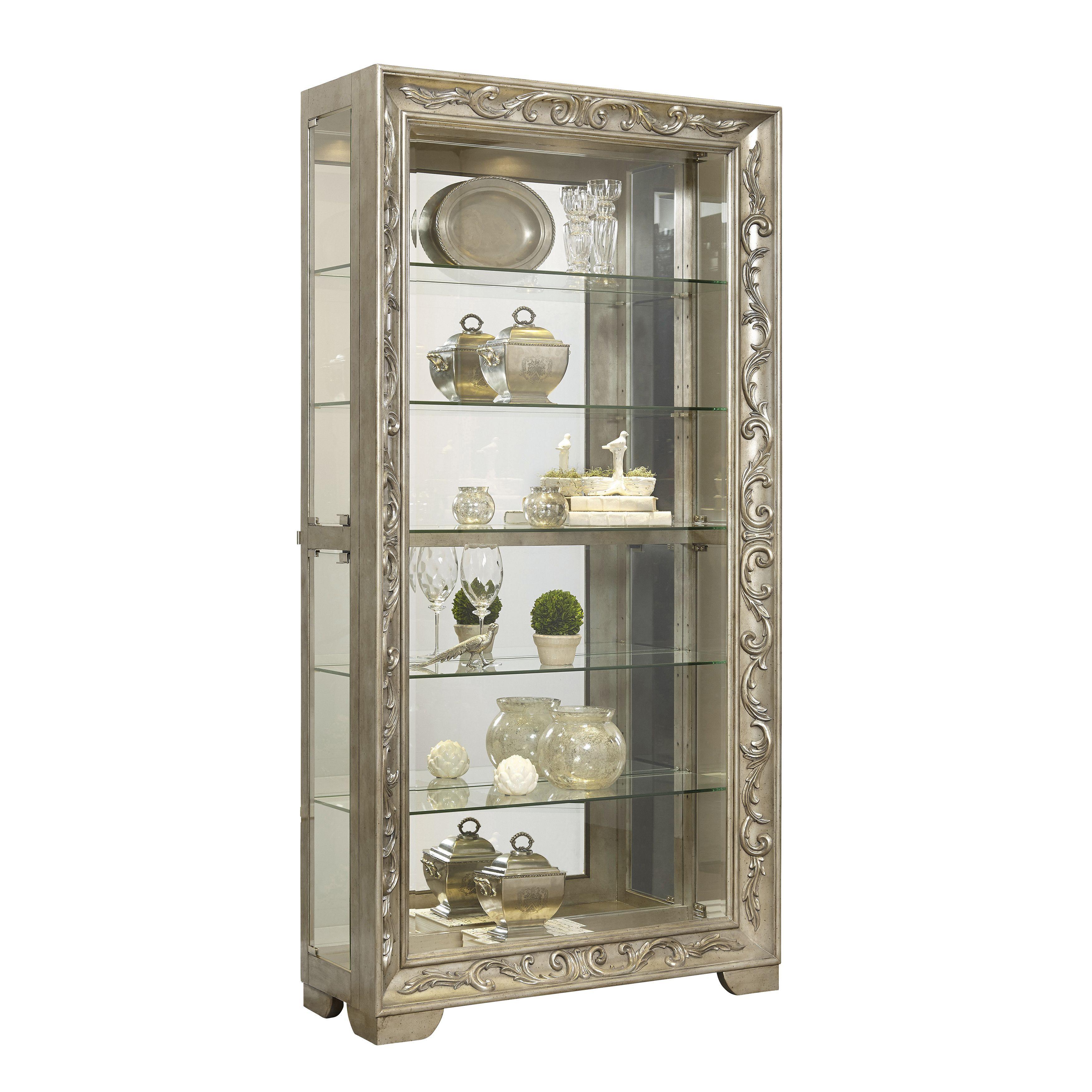 Platinum Finish Sliding Front Door Curio Cabinet Curio Cabinet