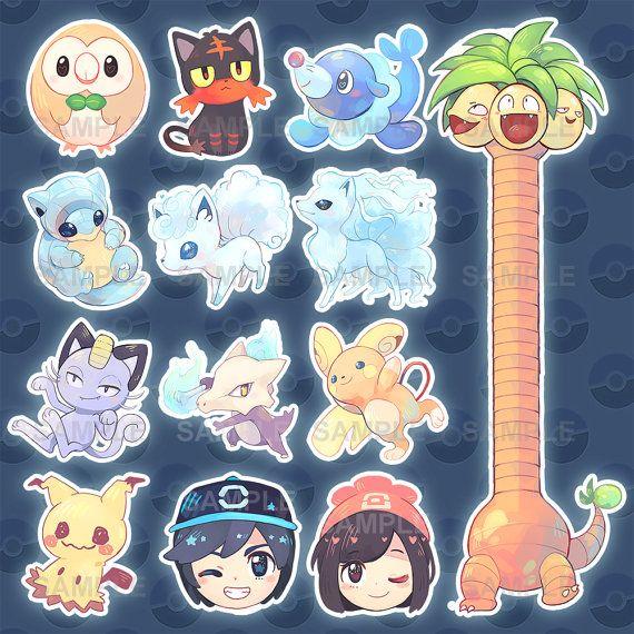 Alola Form Pokemon From Pokemon Sun And Moon Glossy Sticker