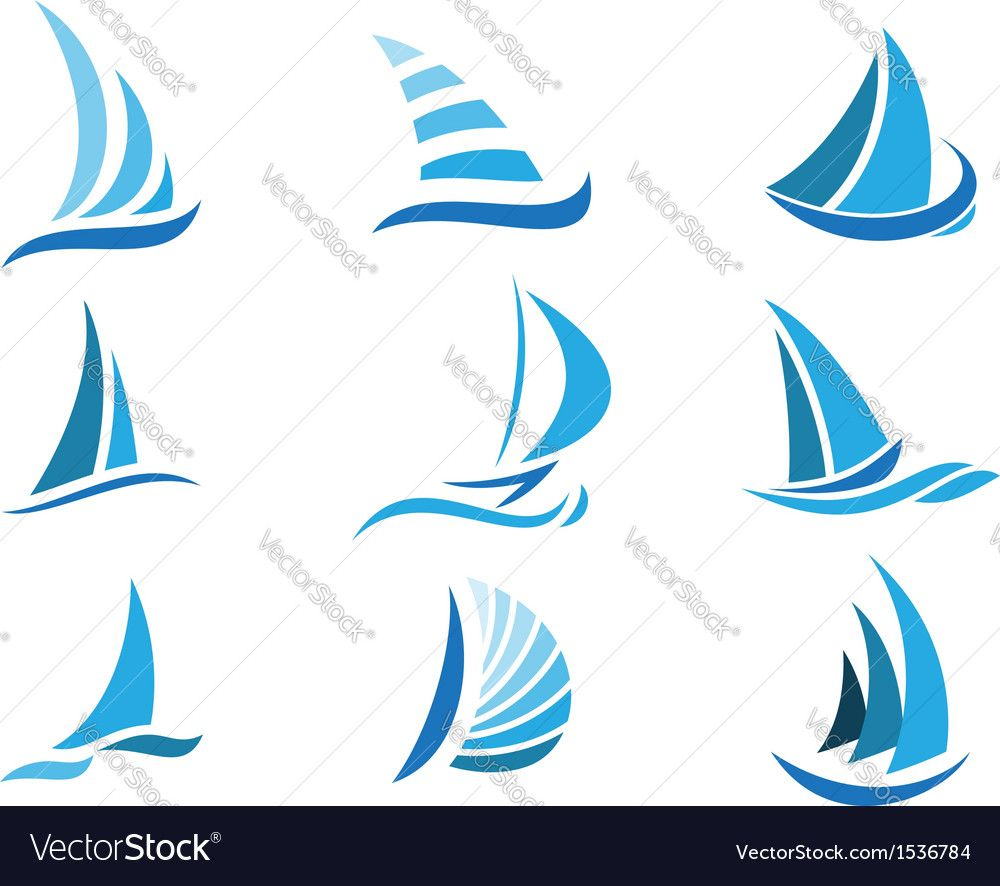 Vector Illustration Of Sailboat Symbol Set Download A Free Preview