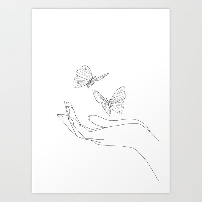 Photo of Butterflies on the Palm of the Hand Art Print by andreas12