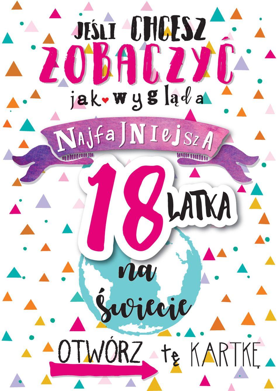 Kartka Urodzinowa Na 18 Urodziny Z Ciekawym Wzorem I Grafika
