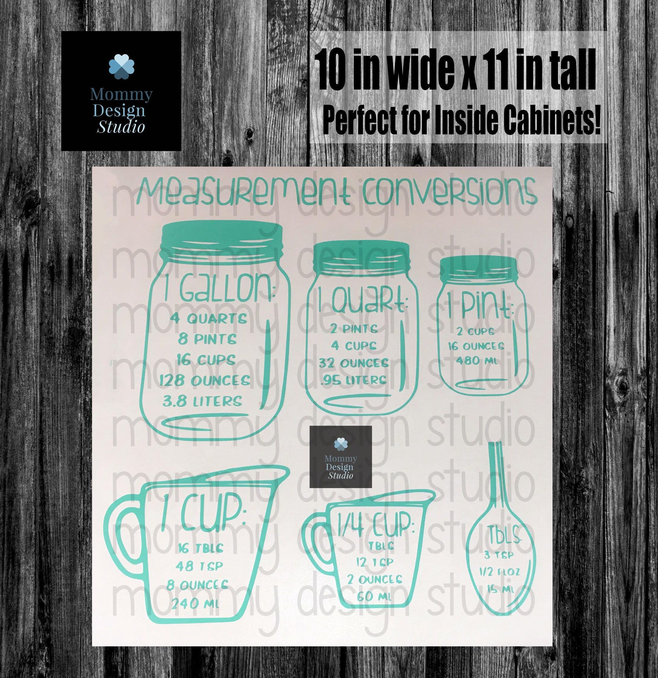 Kitchen Measurements Conversion Decal - 11x10 inch Large Decal ...