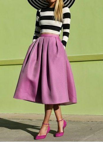 d701b6f9a Vintage Long Sleeves Striped Short T-Shirt and Long Ball Gown Skirt Suit  For Women