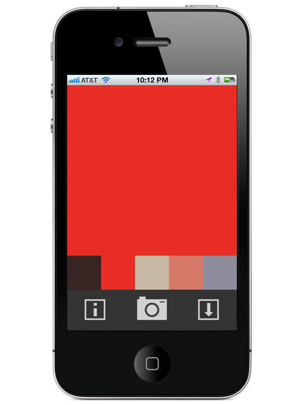 "hacktivism | ""1 Pixel Camera"" is an iPhone application which allows the user to take a photograph, select a dominant colour from a photo, and save that colour to the camera roll for storage and sharing on social networks."