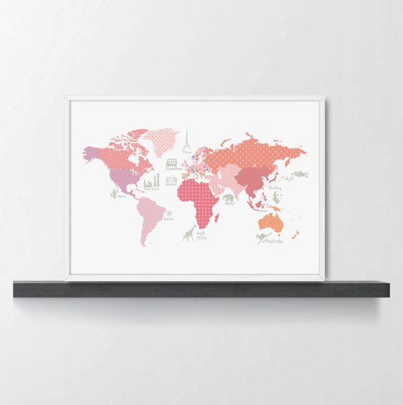 Girls room decor world map poster wm305a pink world map kids world map poster 05 pink world map kids girls by modernkidsgallery gumiabroncs Image collections