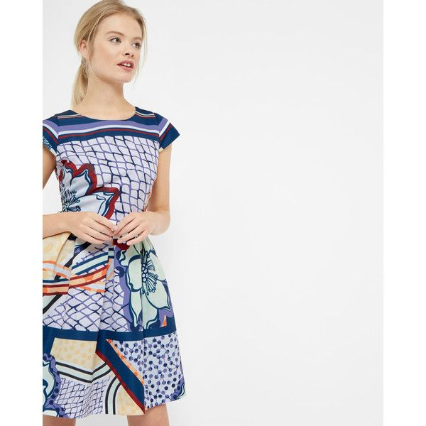 bde80a6ffb Ted Baker Africa Tribal Print Skater Dress Lilac ( 335) ❤ liked on Polyvore  featuring. White Skater DressesPleated ...