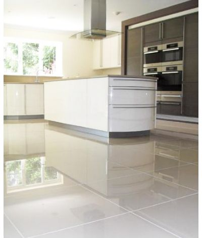 polished white floor tile £24.92 m. crazy or good idea? | kitchen