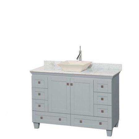 Wyndham Collection Acclaim 48 inch Single Bathroom Vanity in Oyster Gray, White Carrera Marble Countertop, Pyra Bone Porcelain Sink, and No Mirror