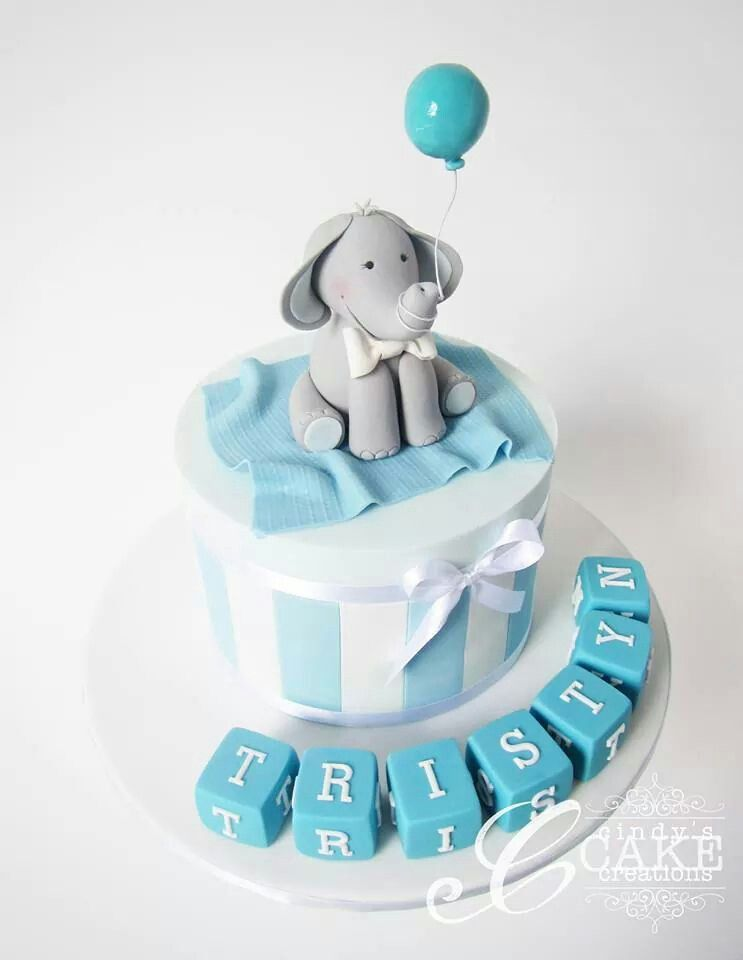 Phenomenal Baby Boy Christening Cake Boy Baby Elephant Cake Unique Baby Funny Birthday Cards Online Overcheapnameinfo