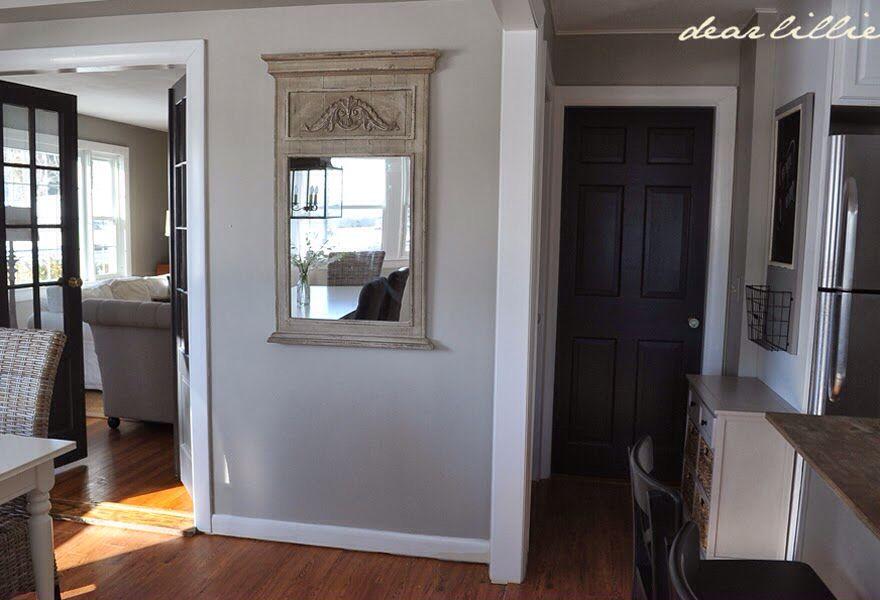 Walls Revere Pewter Doors Wrought Iron Benjamin Moore Living Room Remodel Small Basement Remodel Basement Remodeling
