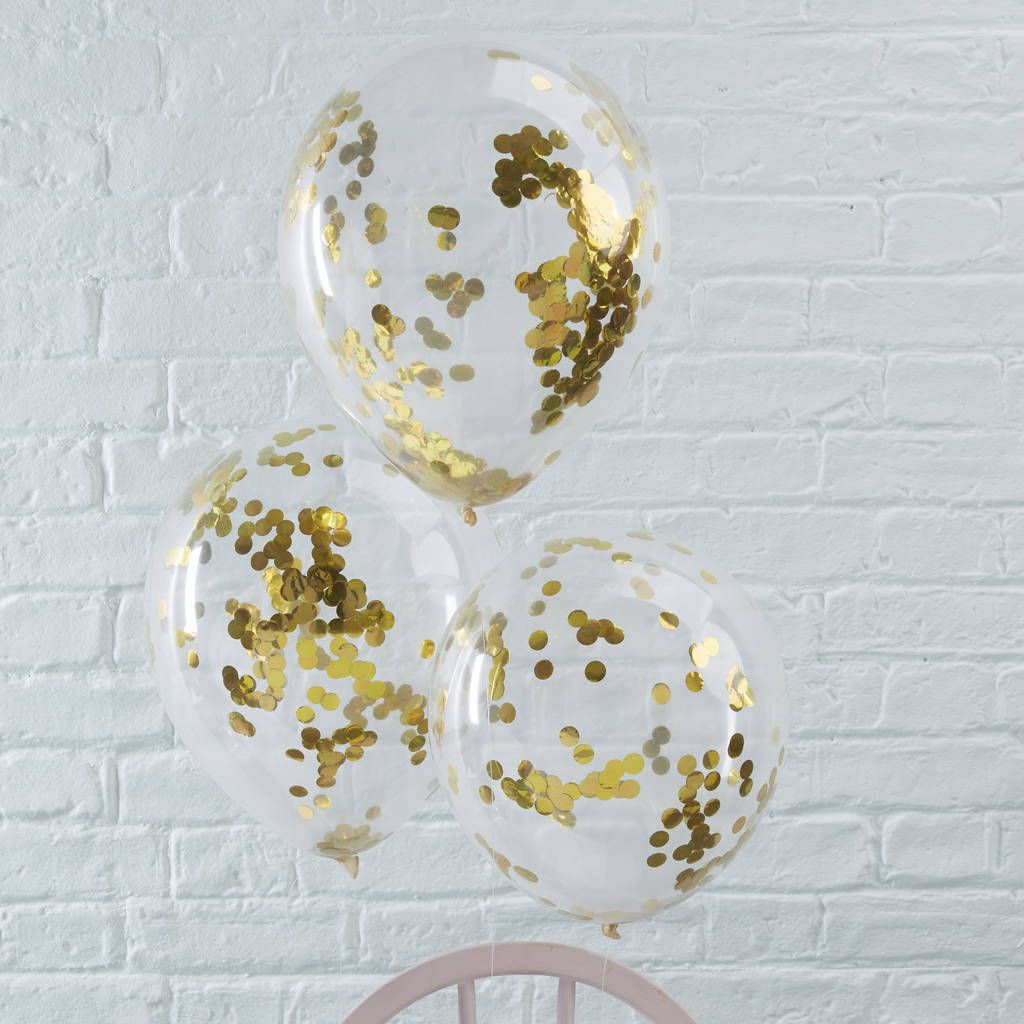 Pack Of Five Gold Confetti Filled Clear Party Balloons | Gold ...