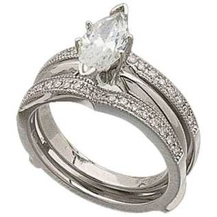 14kt white gold distinctive diamond ring guard enhancer center ring is not included - Wedding Ring Guard