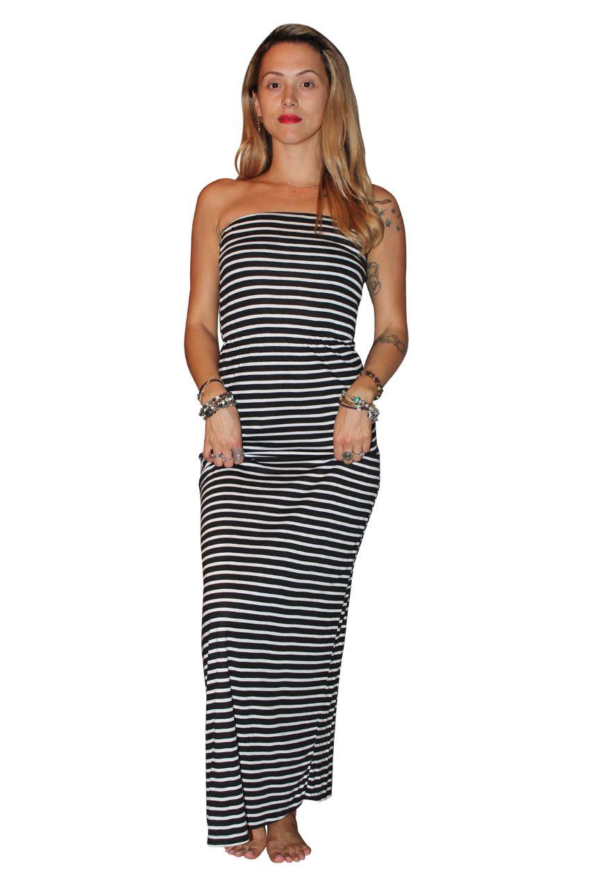 Black cotton strapless maxi dress