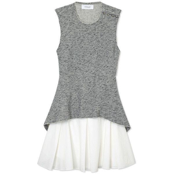 10 Crosby Derek Lam Flared Skirt Dress (1.550 BRL) ❤ liked on Polyvore featuring dresses, grey, flared skirt, open back dresses, skater skirts, gray skater skirt and lining dress