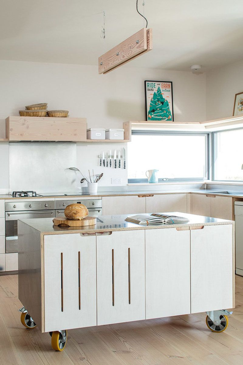 8 Examples Of Kitchens With Movable Islands That Make It Easy To Change The Layout Kitchen Design Small Plywood Kitchen Mobile Kitchen Island