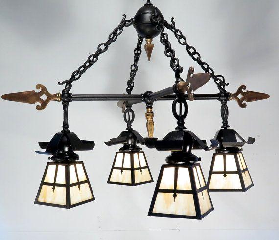 Antique Vintage Iron and Brass Arrow Chandelier Tudor Art Deco