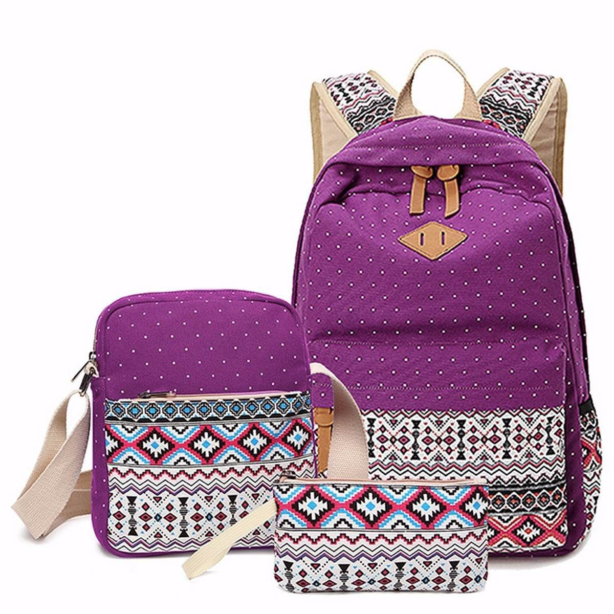 5bd61f7fb5 3 pcs set Women Backpack Canvas Printing School Bags Girls Backpacks Cute  Rucksack Schoolbag Lady Bookbags