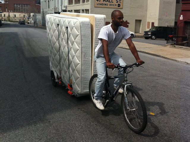 Hauling Two Mattresses On A 64aw Bicycle Trailer Bikes At Work
