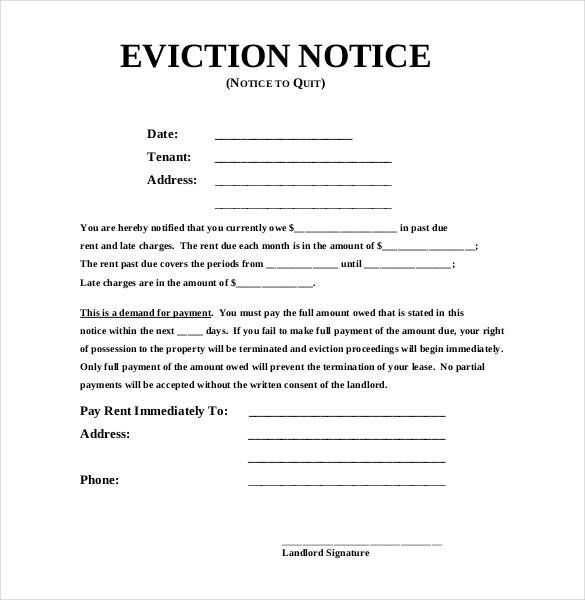Image Result For Printable Eviction Notice Form  Landlord Eviction Notice Letter