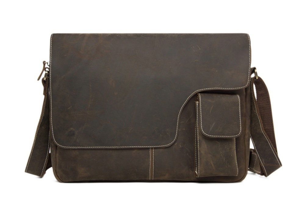 Vintage Leather Messenger Bag 13 In Laptop Satchel Macbook Crossbody Shoulder