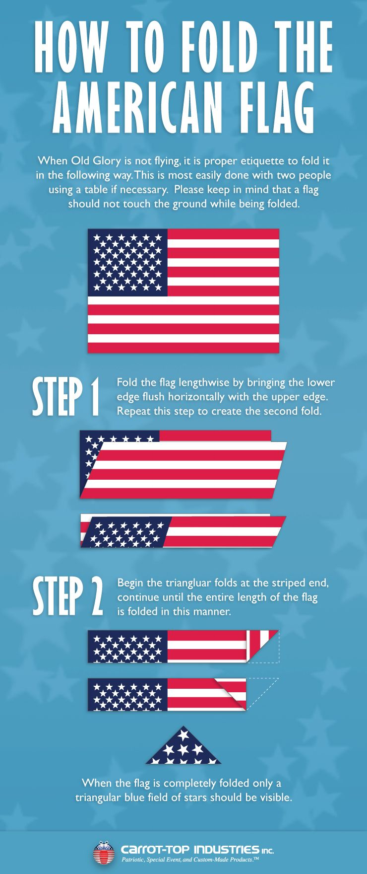 Ever Wondered How To Properly Fold The American Flag We Re Here To Help Flag Flying Guide Carrot Top Com American Flag Rules Flag Etiquette Flag Rules