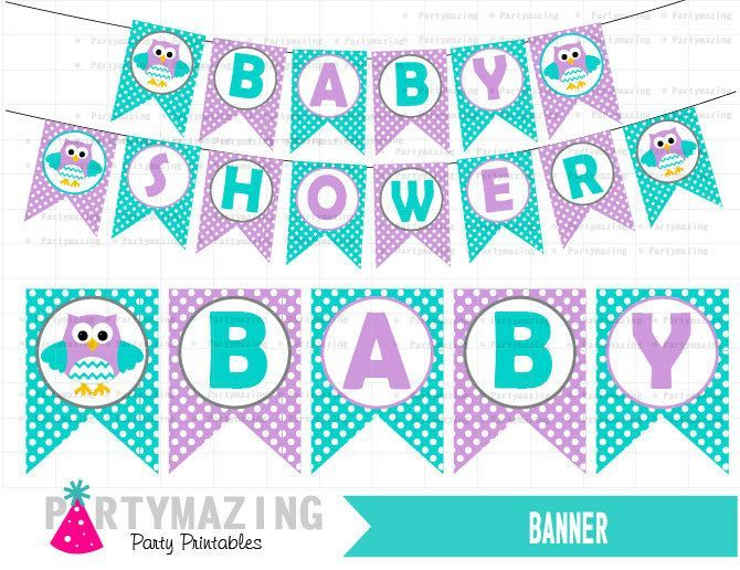 owl baby shower banner diy printable party turquoise lavender diy