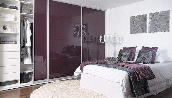Purple Wardrobe Looks Good With White And Grey Less Shiny In Our Case I Hope Though Wardrobe Design Bedroom Bedroom Cupboard Designs Interior Design Bedroom