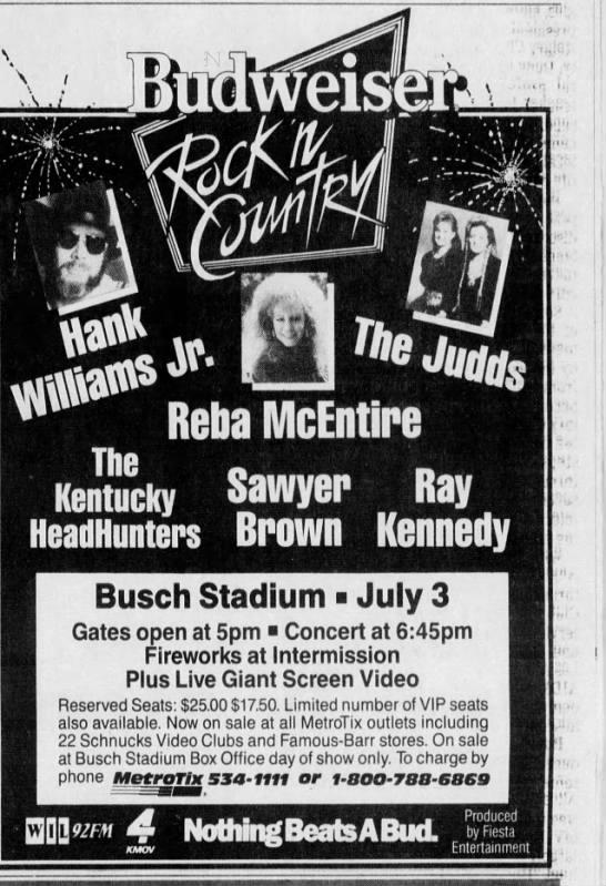 Budweiser Rock N Country At Busch Stadium 1991 In 2020 Budweiser Busch Stadium Rock N