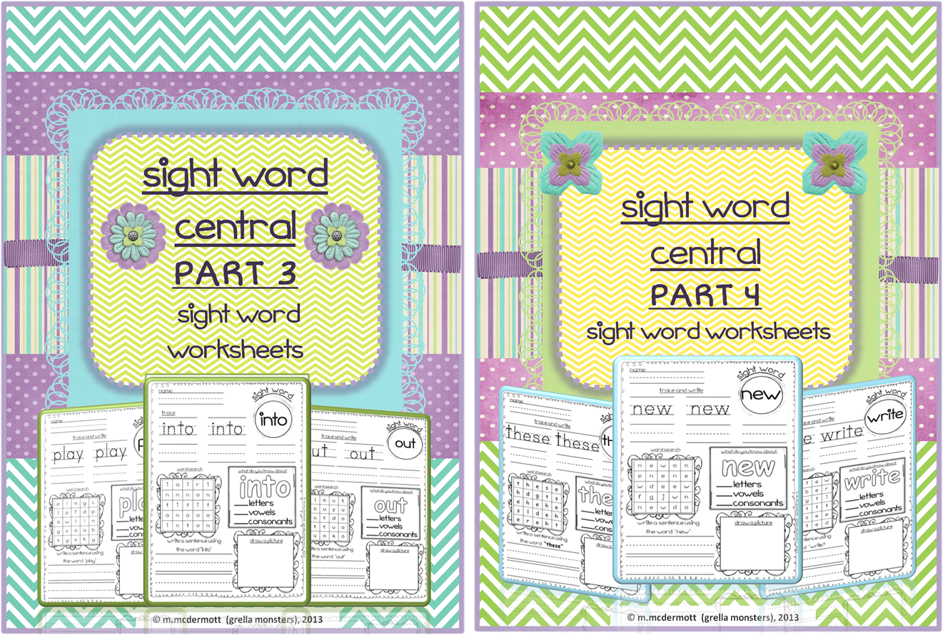 New Sight Word Worksheets Parts 3 And 4