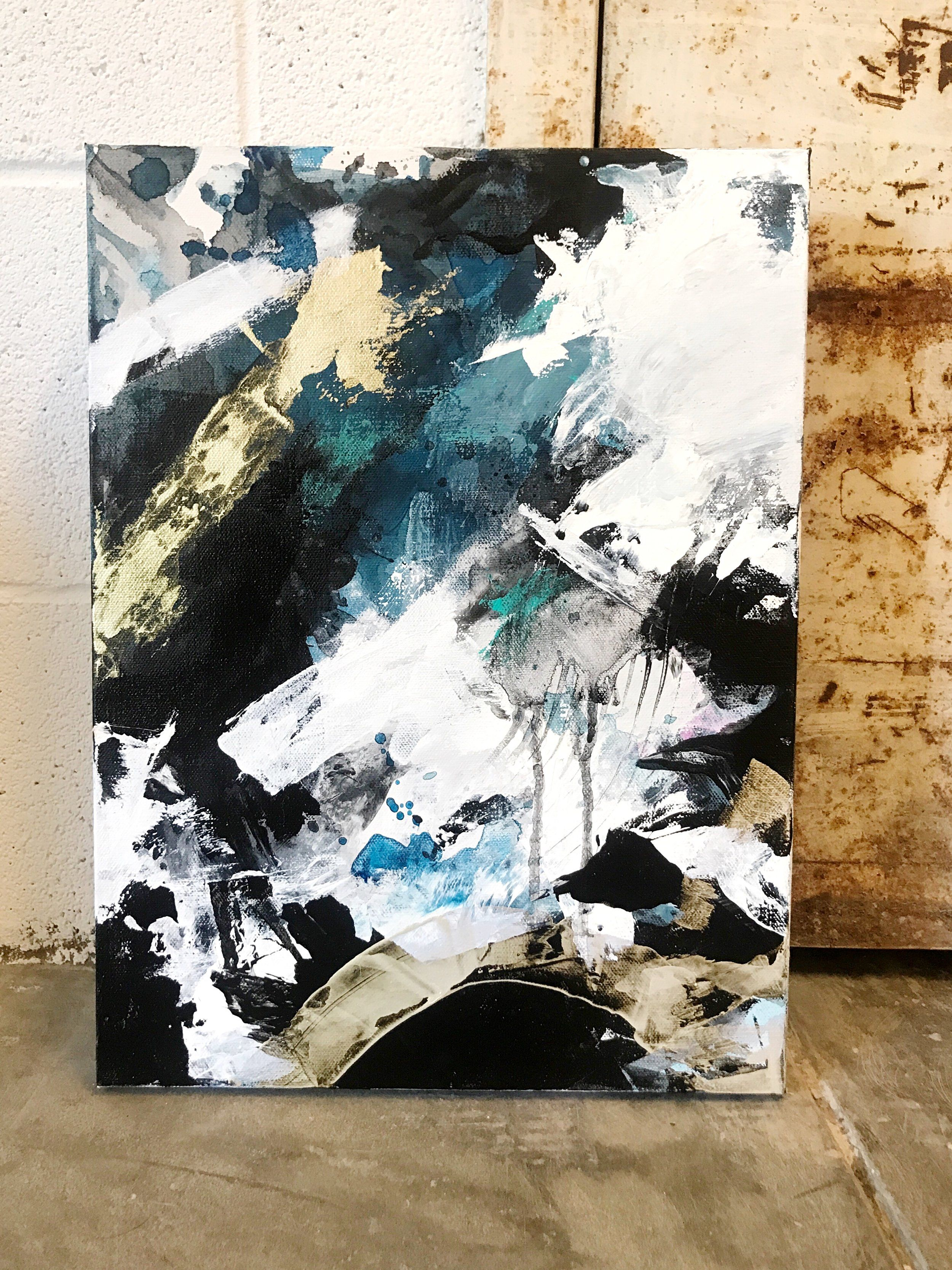 Modern Abstract Painting Bold Strokes Of Blue Black Gold And White For The Perfect Accent Piece In Any Moder Abstract Modern Abstract Painting Blue Painting