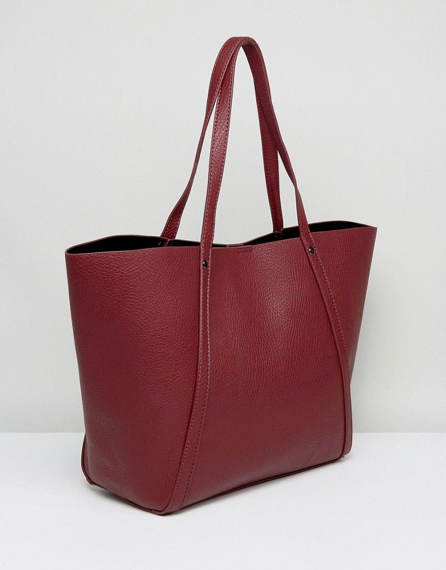 Pieces Structured Shopper Bag With Removable Pouch - Red