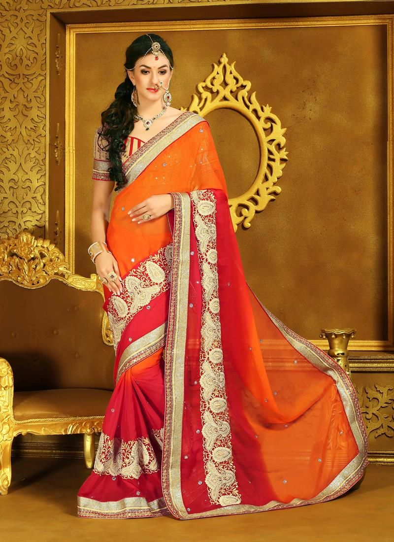 Saree for freshers party in college honourable orange and red designer saree  designer sarees