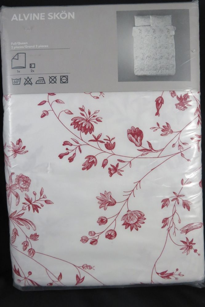 Ikea Alvine Skon Red White Floral Queen Duvet Cover 2 Std Pillowcases New Ikea Queen Duvet Covers Queen Duvet Floral Duvet Cover