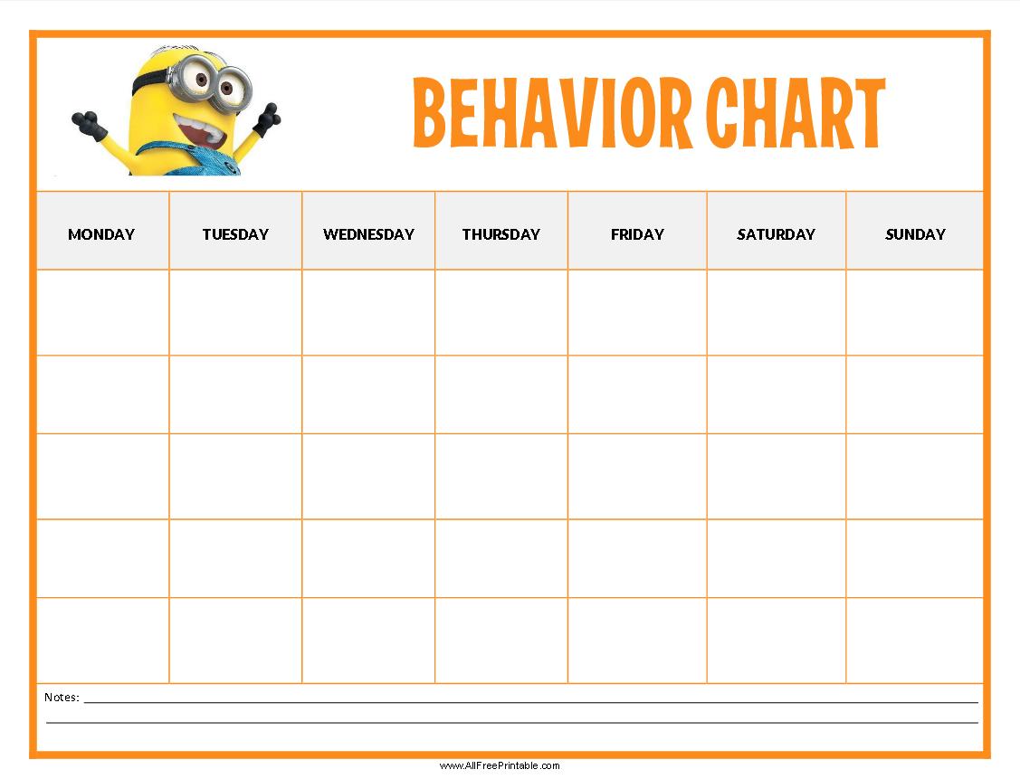 Allfreeprintable Minions Behavior Chart
