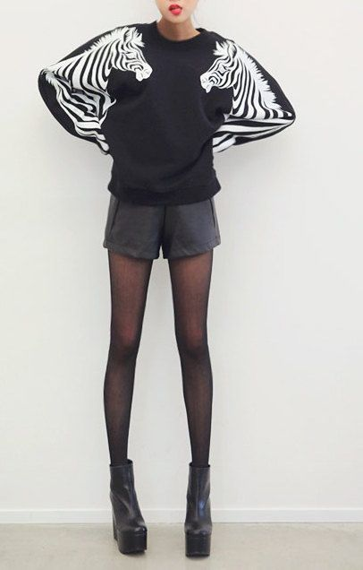 zebra print sweatshirt Black by ZulamimiLand on Etsy, $39.00
