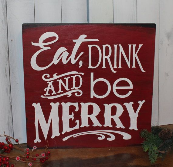 Eat Drink And Be Merry Sign Large Christmas Sign Red White Christmas Party Decor Ready To Ship Christmas Signs White Christmas Party Red White Christmas