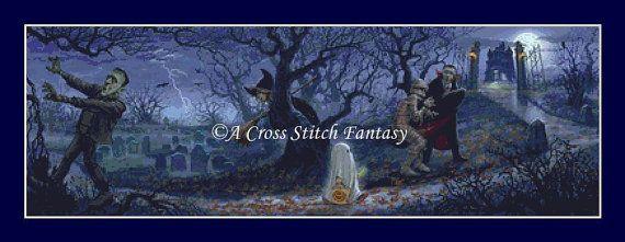 Halloween Scene Cross Stitch Pattern by ACrossStitchFantasy