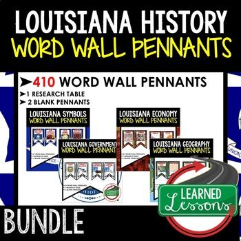 Photo of Louisiana History Word Wall Pennants (Louisiana History Word Wall Bundle)