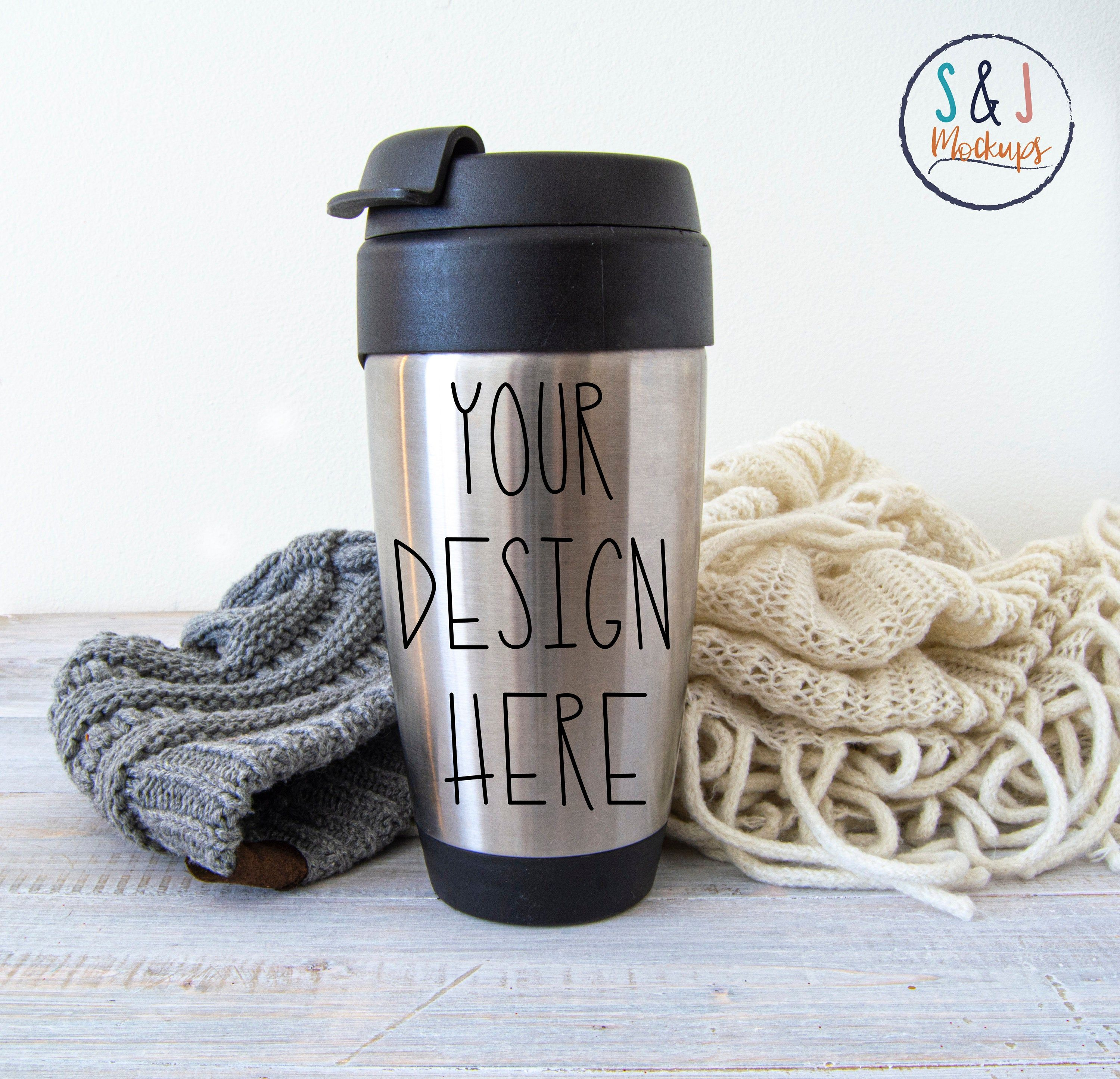 Travel mug mockup, Winter coffee cup photo, Mug template