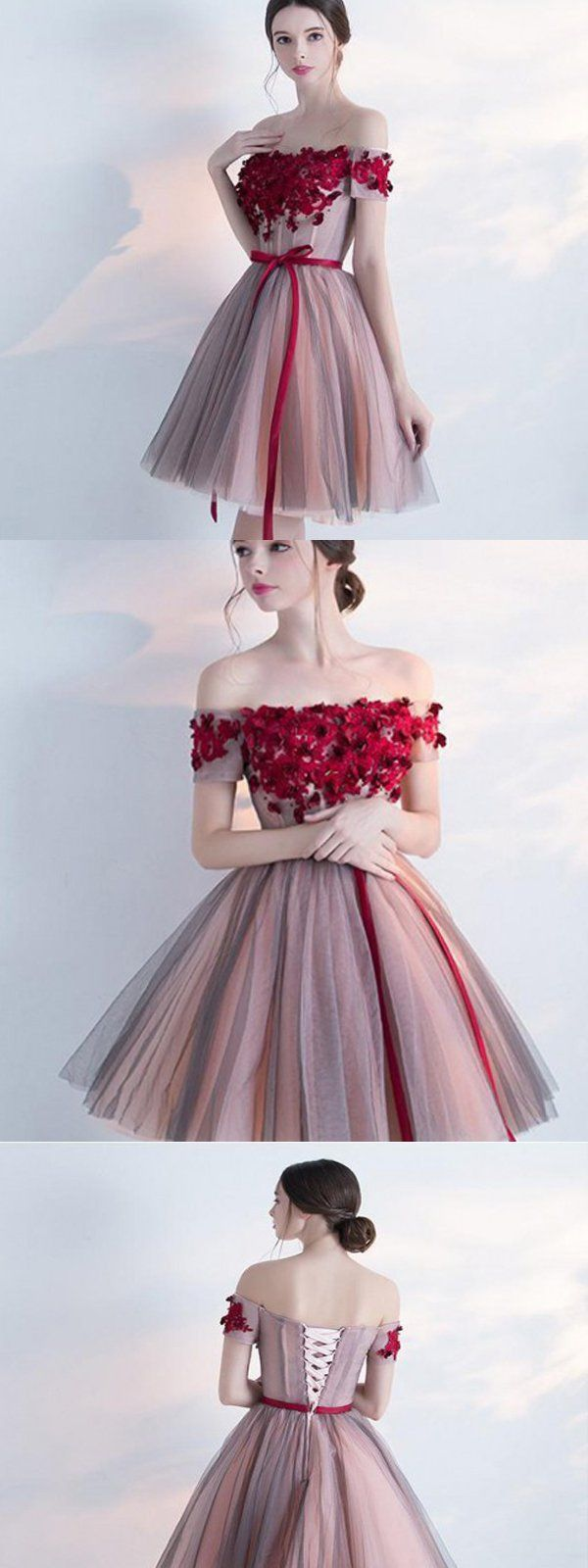Burgundy tulle homecoming dresses handmade flower homecoming