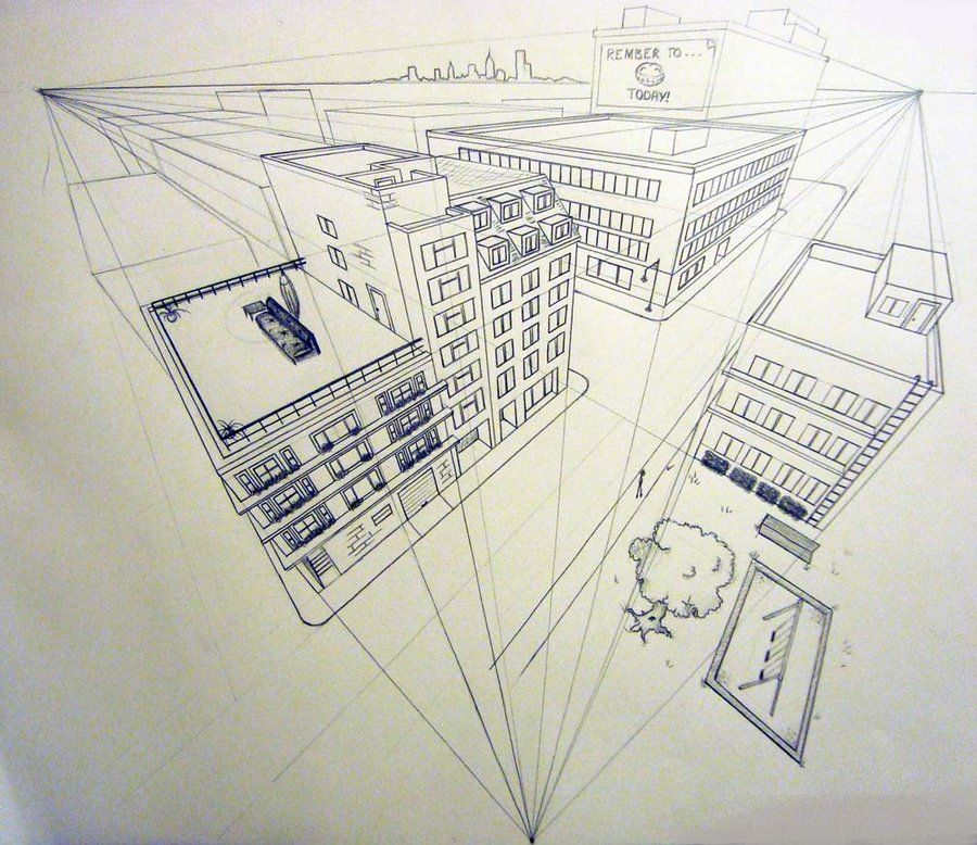 3 point perspective … | Perspective | Pinterest | Perspective