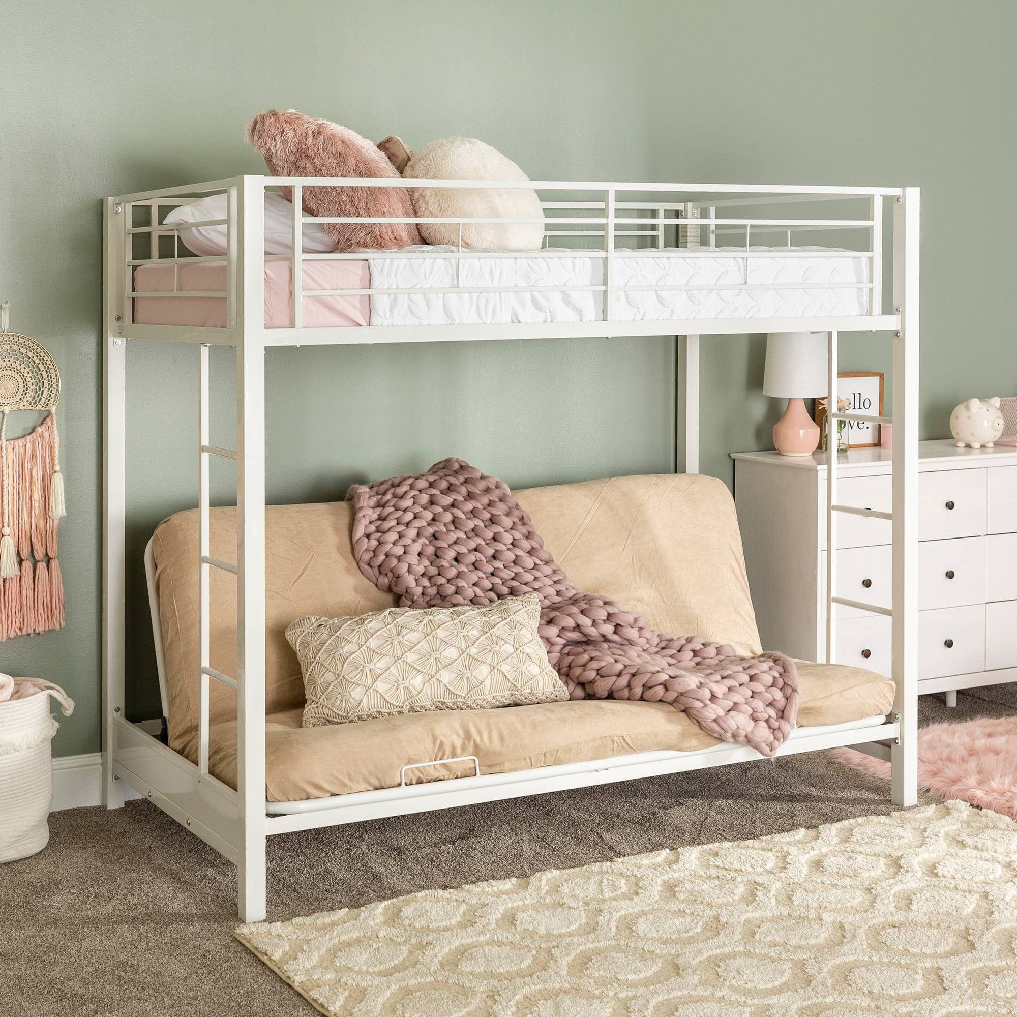 Premium Metal Twin Over Futon Bunk Bed