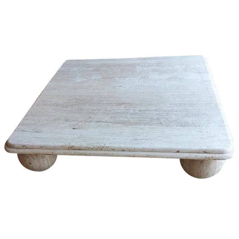 travertine coffee table square