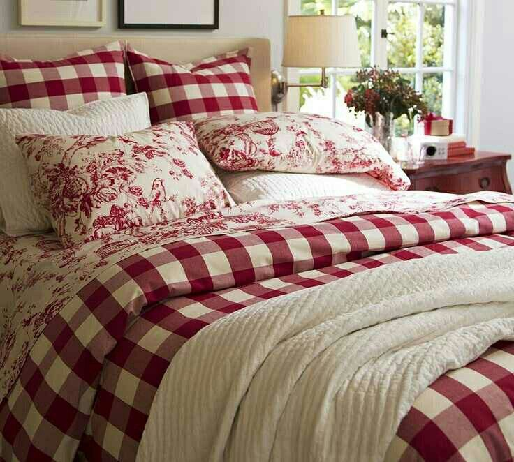 Pin By Lystelia On Christmas Bedroom Red Country Bedroom Country Bedding Sets
