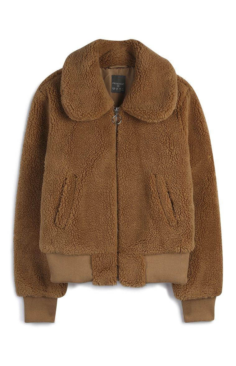 Primark Tan Faux Sherpa Bomber Jacket Fashion Primark Winter Fashion [ 1177 x 760 Pixel ]