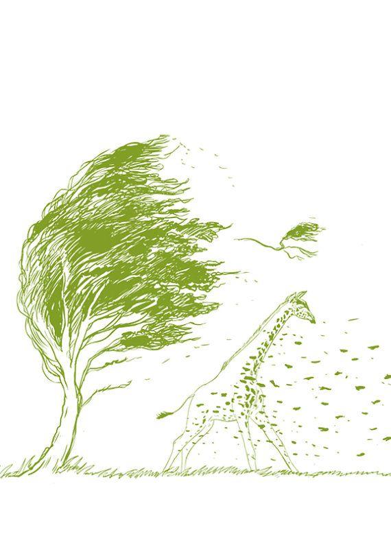 b7ffaf0b Wild Wild Wind Giraffe Wind Blow Tree by yeohghstudio on Etsy, $30.00